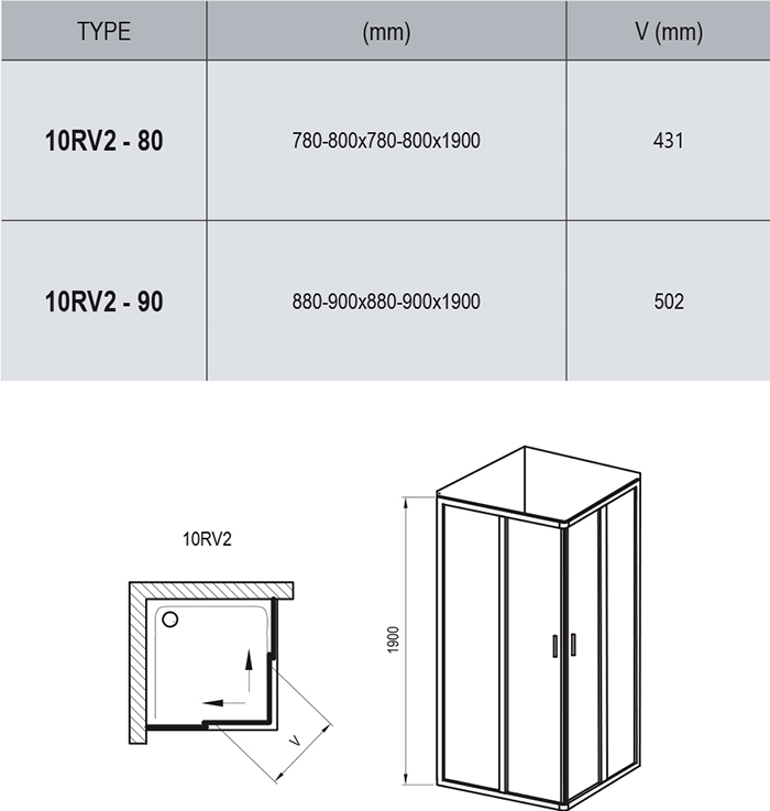 10° 10RV2 shower enclosure