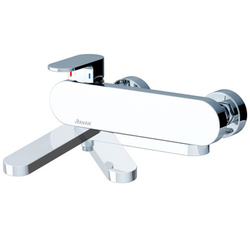 Chrome wall-mounted bathtub mixer taps