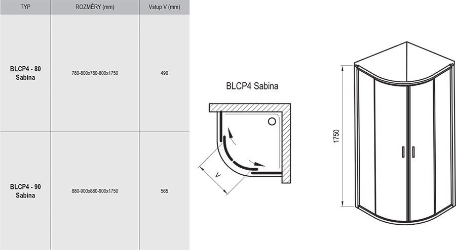 Blix BLCP4 Sabina quadrant sliding shower enclosure, short