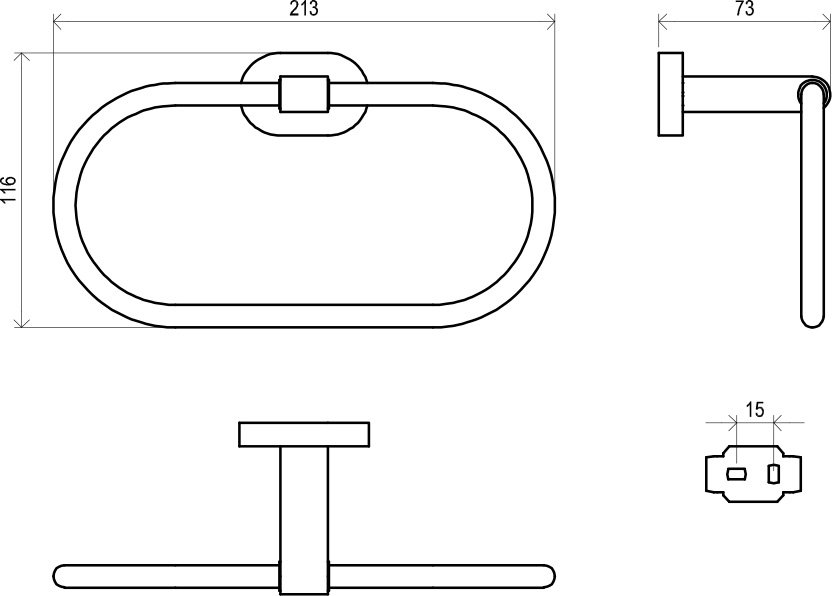 Oval-shaped towel holder