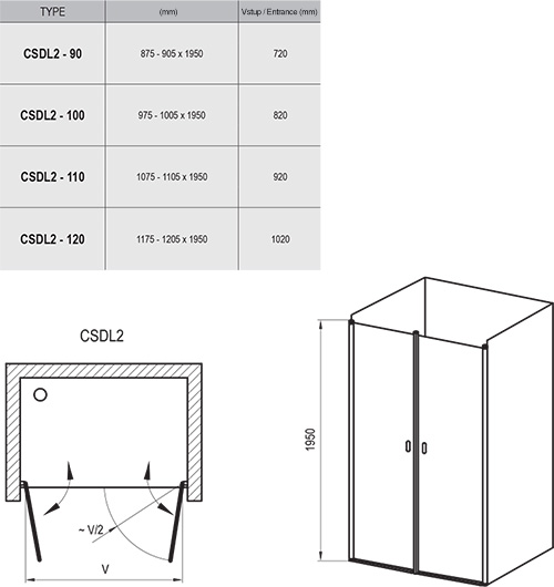 Chrome CSDL2 shower door