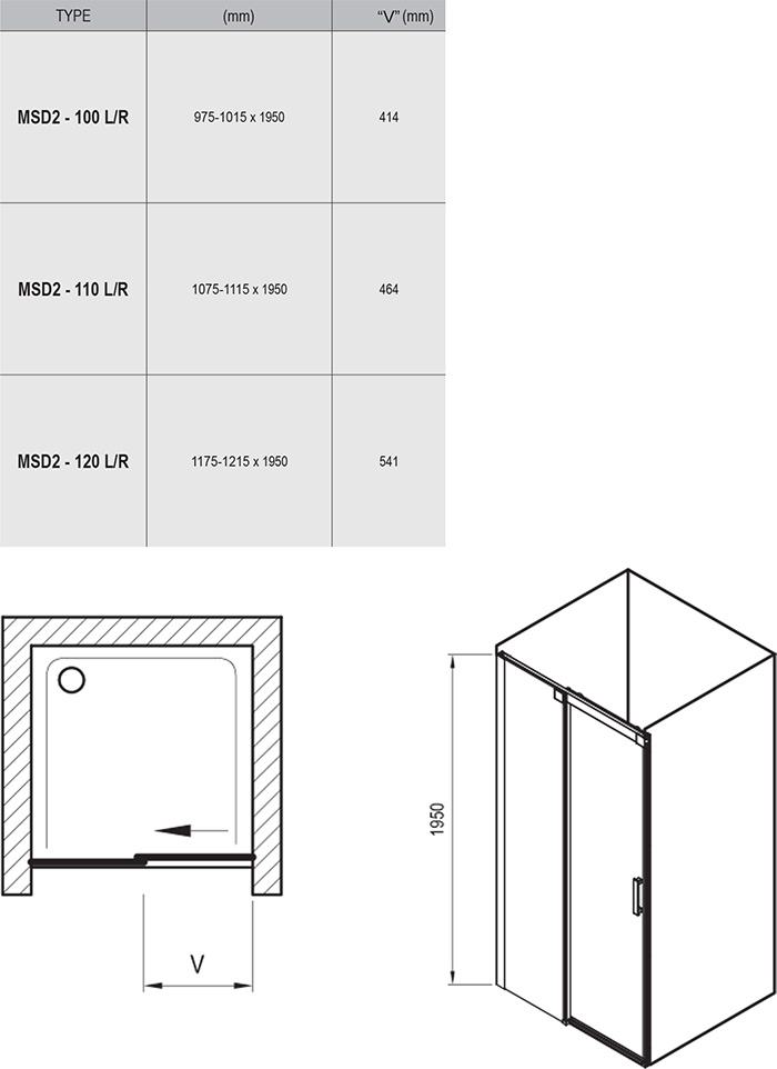 MSD2 two-part shower door