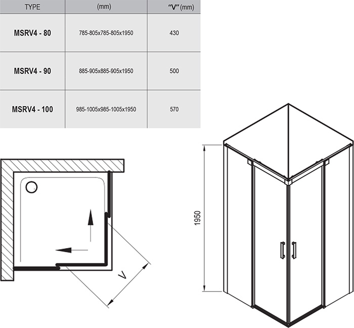 MSRV4 four-part corner shower enclosure