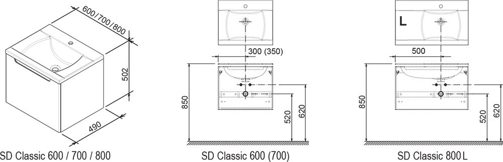 SD Classic 700 cabinet under washbasin