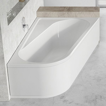 Supports, Panels and Panelkit for Asymmetrical Bath Chrome