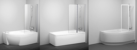 Bathtub screens for asymmetric bathtubs