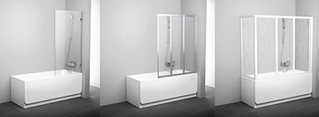 Bathtub screens and bathtub doors for rectangular bathtubs
