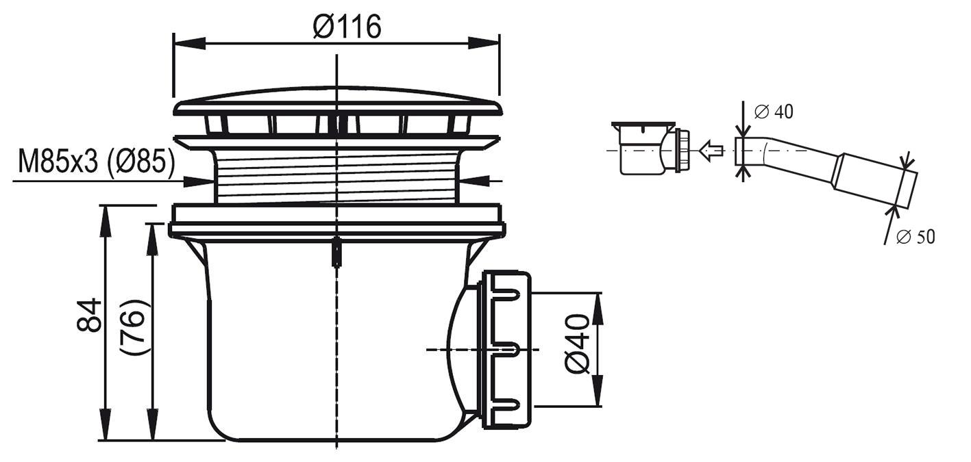 Ravak Standard 90 Shower Tray Waste Trap Ravak A S