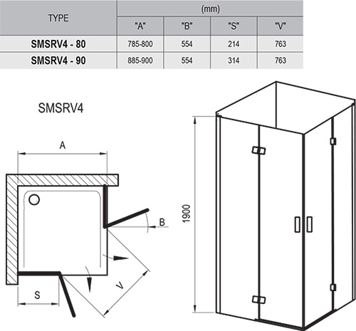 SmartLine SMSRV4 shower enclosure